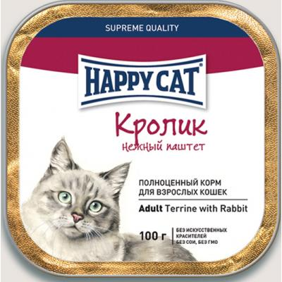 Нежный Паштет Happy Cat для кошек, Кролик